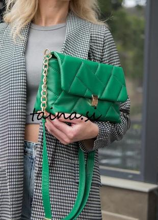 Женская сумка зеленая сумка стеганая сумка стеганый зеленый клатч кросс боди сумка через плечо