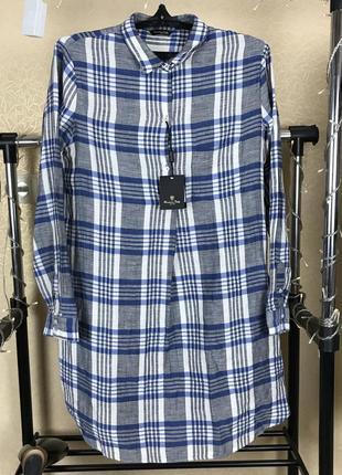 Платье рубашка в клетку с добавлением лён от massimo dutti vn8 cos zara