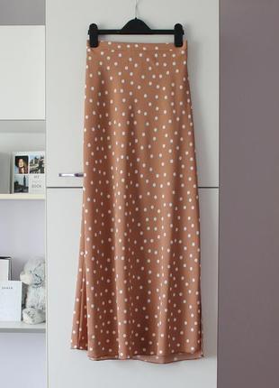 Шикарная юбка макси в горошек