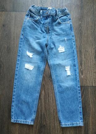 Джинсы с завышенной талией, джинсы мом1 фото