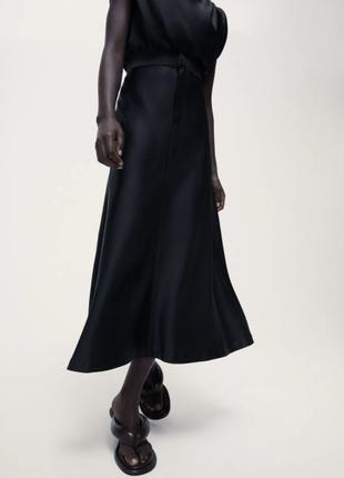 Zara сатиновая юбка миди
