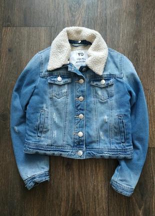 Джинсовая куртка с подстежкой, теплая демисезонная курточка1 фото