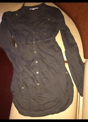 Удлиненная рубашка хаки tally weijl