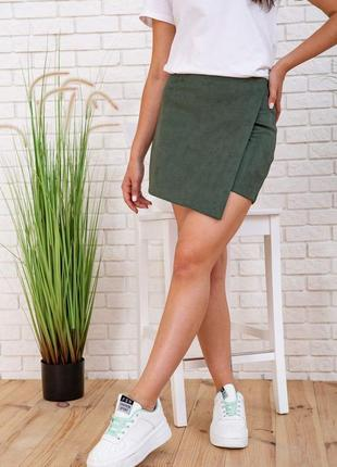 Юбка-шорты цвет зеленый замш