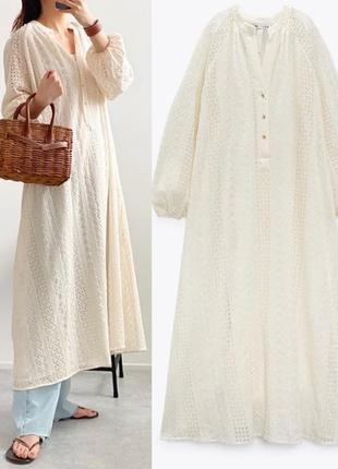 Платье миди zara с ажурной вышивкой