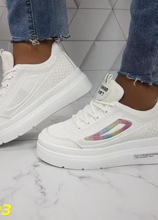 Женские кроссовки кожаные белые, женские кроссовки на массивной подошве, кроссовки летние белые