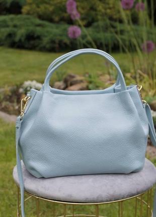 Топ продаж! кожаная сумка женская голубая италия vera pelle на короткой ручке фиалка серый лазурь genuine leather