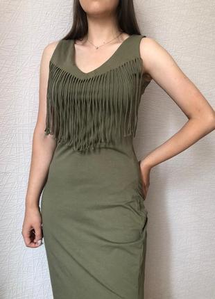 Платье стильное хаки
