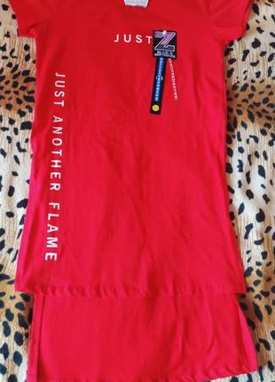 Новая красная туника, удлиненная футболка poncik