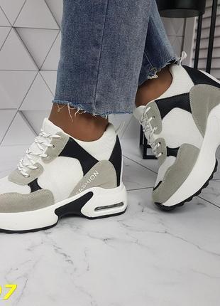 Женские кроссовки комбинированые белые с серым, женские кроссовки на массивной подошве, кроссовки на танкетке, сникерсы комбинированые серые3 фото
