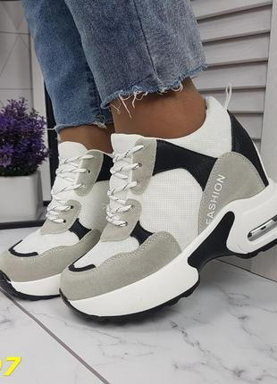 Женские кроссовки комбинированые белые с серым, женские кроссовки на массивной подошве, кроссовки на танкетке, сникерсы комбинированые серые4 фото