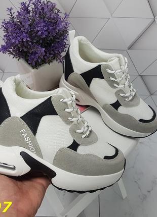 Женские кроссовки комбинированые белые с серым, женские кроссовки на массивной подошве, кроссовки на танкетке, сникерсы комбинированые серые7 фото