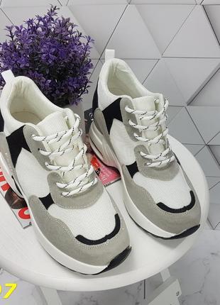 Женские кроссовки комбинированые белые с серым, женские кроссовки на массивной подошве, кроссовки на танкетке, сникерсы комбинированые серые6 фото