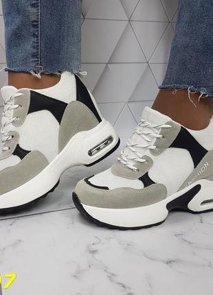 Женские кроссовки комбинированые белые с серым, женские кроссовки на массивной подошве, кроссовки на танкетке, сникерсы комбинированые серые