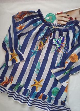Пляжное платье из тонкого нежного хлопка, морской принт бренд anasta sea (испания)