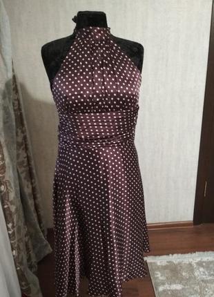 Шелковое платье в горошек