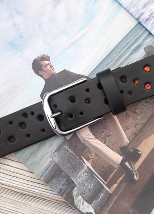 Ремень пояс мужской кожаный черный / ремінь пояс шкіряний