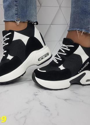 Женские кроссовки комбинированые черные, женские кроссовки на массивной подошве, кроссовки на танкетке, сникерсы комбинированые черные