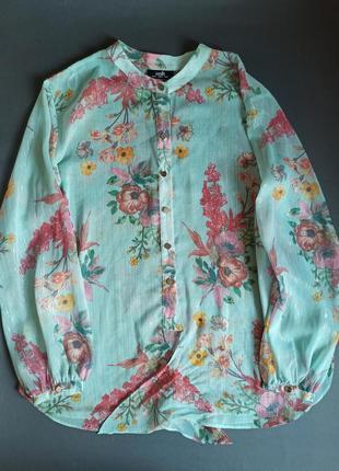 Блуза блузка шифоновая цветочный квітковий принт  wallis eur42 us10 uk14