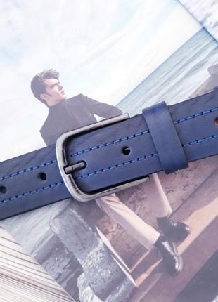 Ремень пояс мужской кожаный синий / ремінь пояс шкіряний