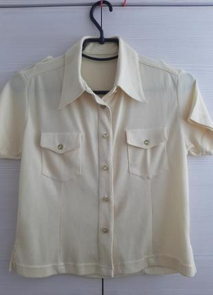 Рубашка, цвет лимонный, укороченая, размер s