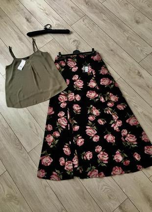 Костюм летний юбка в пол длинная разрез цветочный принт топ бретели шифоновый макси