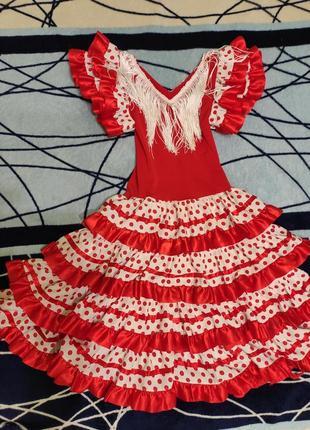 Карнавальное платье испански на 7-8лет