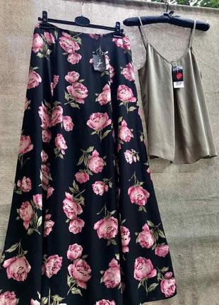 Костюм шифоновый юбка в пол длинная макси с разрезом цветочный принт цветочек топ бретели