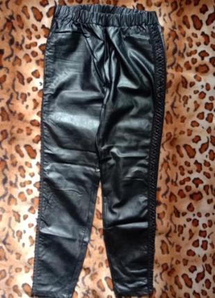 Amisu кожаные брюки лосины леггинсы со шнуровкой высокая посадка л-хл