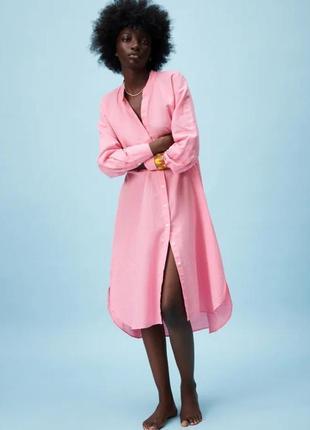 Льняное платье миди zara розового цвета
