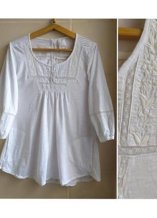 Легкая натуральная блуза с кружевом котон
