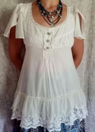 Блузка легкая в бохо стиле хлопок uk 10