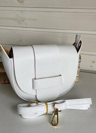 🇬🇳итальянская кожаная натуральная сумочка женская genuine leather молодёжная маленькая белый молочный через плечо на кожаном ремешке vera pelle