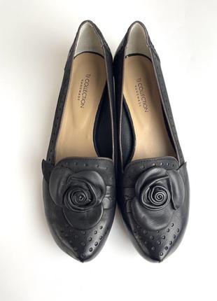 Tj collection туфли балетки с розами новые кожаные мокасины брендовые эксклюзивные