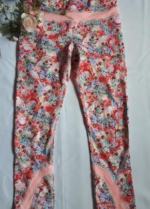 Спортивные лосины  американского премиум бренда lululemon athletica в цветочный принт(размер 4)