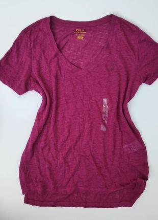 Льняная футболка с v-образным вырезом ✨ polo ralph lauren ✨ лён
