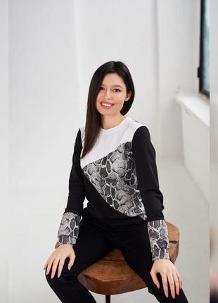 Акция! мега стильная женская кофта, комбинированная, цвет - черный с белым & серый питон, свитшот