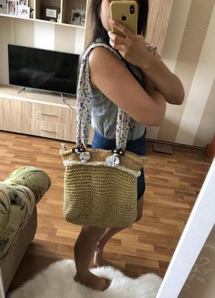 Соломенная сумка сумочка с длинной ручкой пляжная шопер шоппер