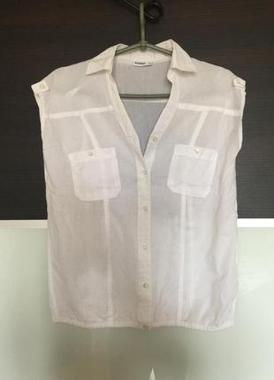 Легкая блуза рубашка белая из натуральной ткани janina