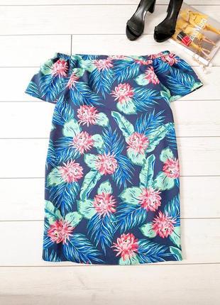 Стильное летнее платье миди с открытыми плечами_изумительная расцветка
