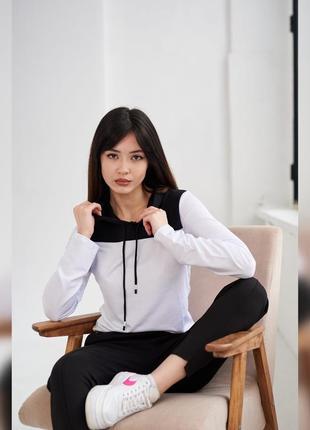 Акция! стильная белая кофта с черным капюшоном, 8 разных цветов, женская худи, спортивная