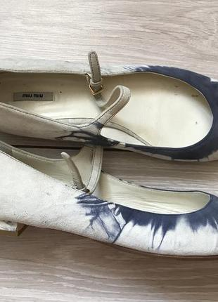 Туфли на низком каблуке miu miu