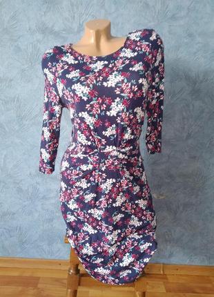 Милое платье миди по фигуре хлопок спереди с узлом