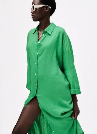 Льняное платье-туника миди zara зеленого  цвета