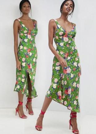Распродажа! платье миди/макси с разрезом до бедра и цветочным принтом asos