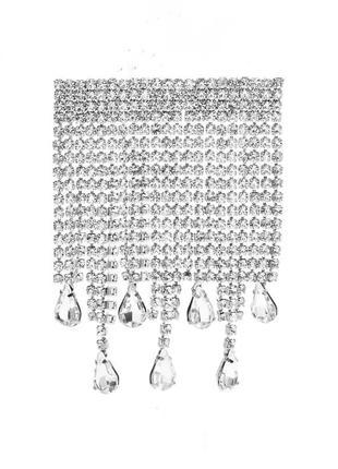 Брошь с подвесками из кристаллов в виде капель воды