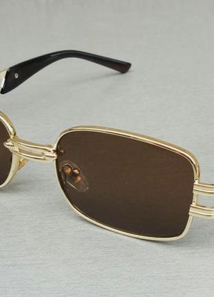 Versace стильные солнцезащитные очки унисекс коричневые в золотой металлической оправе