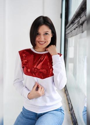 Акция! женская белая стильная кофта с блестящей красной вставкой, кофта с паетками
