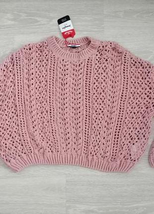 Укороченный ажурный свитер оверсайз от jennyfer