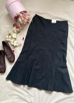 Лен льняная юбка с вышивкой. в стиле zara. boohoo